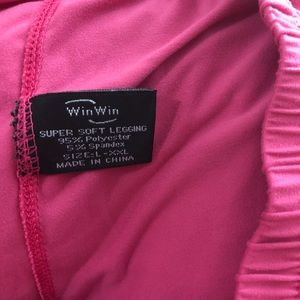 Win Win Pants - Plus size 1X/2X Pretty Solid Pink Stretch Leggings